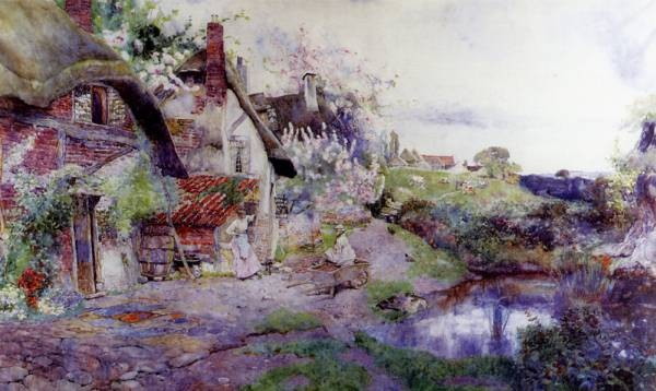 An English Idyll Figures Outside A Thached Cottage